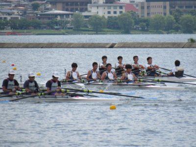 入野中ボート部 全中で男子クオド4位、女子クオド7位